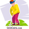 Vector Clip Art picture  of a Young golfer