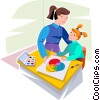 Teacher helping a student with her painting Vector Clipart graphic