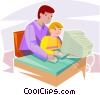 father and son working on a computer Vector Clipart graphic