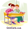 Students doing work in class Vector Clipart picture