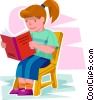 Vector Clipart graphic  of a girl reading a book