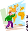 Student pointing to a location on a map Vector Clipart illustration