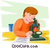 Vector Clip Art image  of a student looking through a