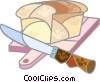 Bread on a cutting board with a knife Vector Clipart picture