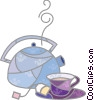 Teapots and teacup Vector Clipart picture