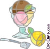 bowl of ice cream and lemon Vector Clip Art picture