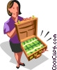 Vector Clip Art graphic  of a woman with a briefcase full of