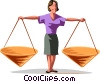 Businesswoman with scales Vector Clipart picture