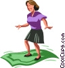businesswoman riding her magic money Vector Clipart illustration