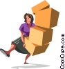 Vector Clip Art graphic  of a businesswoman balancing boxes