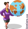Vector Clipart illustration  of a businesswoman holding the