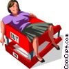businesswoman lay in in-out box Vector Clipart graphic