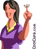 Vector Clipart illustration  of a woman with a string tied to