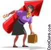 Vector Clip Art graphic  of a businesswoman about to take