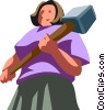 businesswoman with a sledge hammer Vector Clip Art graphic