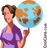 Vector Clipart image  of a woman spinning the world on