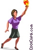 woman carrying Olympic torch Vector Clip Art graphic