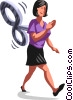 Vector Clipart image  of a wind up Businesswoman