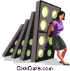 businesswoman holding back dominos Vector Clipart illustration