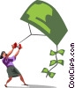businesswoman flying a money kite Vector Clip Art picture