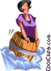Vector Clip Art image  of a woman going over the falls in