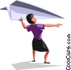 Businesswoman with a paper airplane Vector Clip Art picture