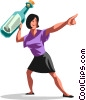 woman about to throw  message into the ocean Vector Clipart illustration