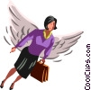 Vector Clip Art image  of an angel businesswoman