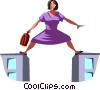 businesswoman doing the splits Vector Clipart illustration
