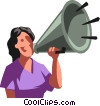Vector Clip Art image  of a woman making announcements
