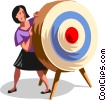businesswoman hiding behind a target Vector Clip Art picture