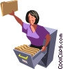 Businesswoman in a filing cabinet Vector Clip Art picture