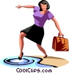 Businesswoman testing the waters Vector Clip Art image