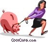 Vector Clipart illustration  of a businesswoman dragging a piggy
