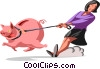 woman being dragged by piggy bank Vector Clip Art image