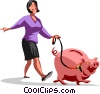 Vector Clip Art picture  of a businesswoman walking with a