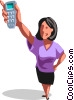 Vector Clipart picture  of a People on Cellular Phones
