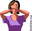 Vector Clipart illustration  of a woman covering her mouth