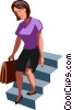 businesswoman going down stairs Vector Clip Art picture