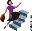 Vector Clip Art graphic  of a businesswoman running up
