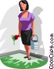 Vector Clipart graphic  of a woman painted herself into a