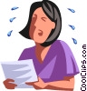 Vector Clip Art image  of a businesswoman crying