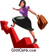 businesswoman on a chart Vector Clip Art picture