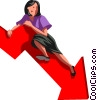 Vector Clip Art graphic  of a businesswoman on a chart