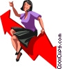 businesswoman on a chart Vector Clip Art image