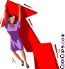 Vector Clip Art picture  of a businesswoman on a chart