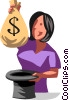 Vector Clipart graphic  of a businesswoman pulling money