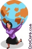 Vector Clipart graphic  of a woman with the world on her