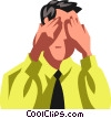 Vector Clip Art graphic  of a businessman covering his eyes