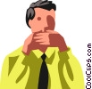 businessman covering his mouth Vector Clipart picture